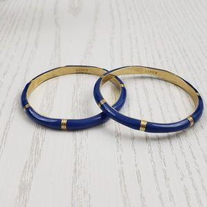 J Crew Gold Tone Blue Enamel Bangle Bracelet Set